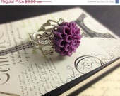Purple Flower Ring - Silver Ring, Mum Ring, Plum Ring, Lapis Jewelry, Boho Jewelry, Eggplant Ring, Adjustable Ring