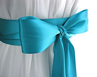 Teal wedding sash, bridal sash, bridesmaid sash, bridal belt, 2.25 inch satin