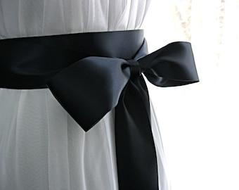 Navy blue / dark blue wedding sash, bridal sash, bridesmaid sash, bridal belt, 2.25 inch satin
