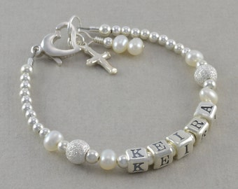 Baptism Bracelet, baby christening pearl bracelet, cross charm, personalized, christening gifts, for goddaughter, niece, white pearls, KEIRA