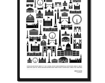 LONDON CITY COLLECTION - London Landmarks. 6 Designs. A3 luxury poster print.