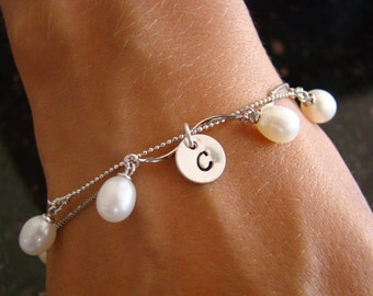 5 Personalized Bridesmaid Pearl Bracelet with Initial Sterling Silver , Custom Wedding Jewelry