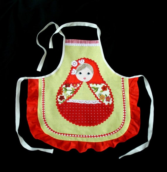 Girl's Apron inspired by Russian Matryoshka Doll with pocket 09m 2012