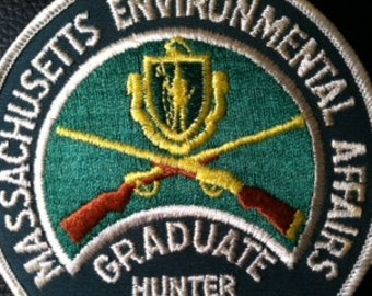 Vintage 1990 Massachusetts Environmental Affairs Hunter Safety Program  patch Gun Rifle Firearm training insignia Rifleman Hunter Americana