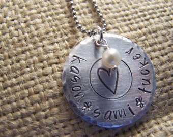 Personalized Mother's Necklace -Handstamped Aluminum