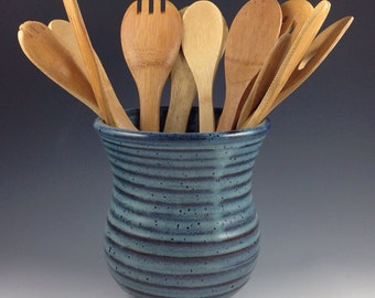 Utensil Jar, Pottery Spoon Jar,  Large Utensil Crock in our Denim Blue Glaze, Kitchen Spoon Jar, In Stock and Ready to Ship