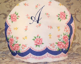 Monogram A Tea Cozy Chocolate Cozy Hand Embroidery Handkerchief Print