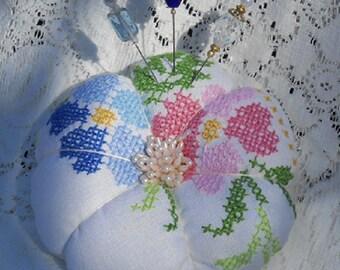 Pincushion Vintage Cross Stitch Fancy Pins Blue Pink