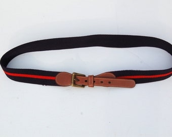 SALE!!!!!!!!!!! Deep purple and red, tan leather country club belt 1990s 90s VINTAGE