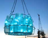 Icy Blue Wedding Mason Jar Chandelier Hanging Blue Lighting, Home Decor, Weddings, Parties, Lights, Mason Jar Lights