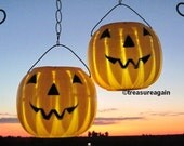 Solar Jack-o-Lanterns 2 Pumpkin Solar Lights Halloween Outdoor Decoration, Garden Stakes, Autumn, Fall, Party Decor, Upcycled Lights