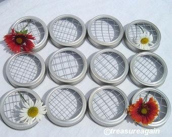 12 Mason Jar Vase Frog Lids for Flowers Silver or Gold