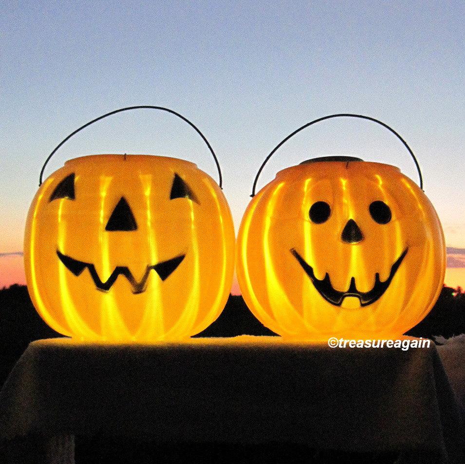 outdoor pumpkin halloween lights 2 pumpkin faces by treasureagain. Black Bedroom Furniture Sets. Home Design Ideas