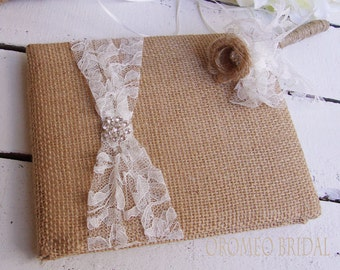 Refined Rustic Lace Rhinestone and Burlap and Lace Wedding Guest Book and Pen Set - Choose Your Colors
