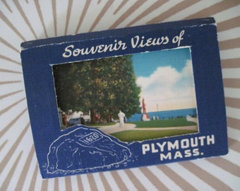 set of 12 vintage PLYMOUTH MASSACHUSETTS Souvenir Postcards ... perfect for framed art