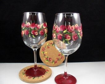 Wine Glasses Hand Painted Cork Coasters Burgundy Yellow Rose Buds Flowers Set of 2 Each