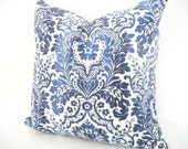 Pillow sale - Bohemian Decor, Navy Blue and Light Blue Ikat Long Pillow, Blue and White Cushions 18x18 inches