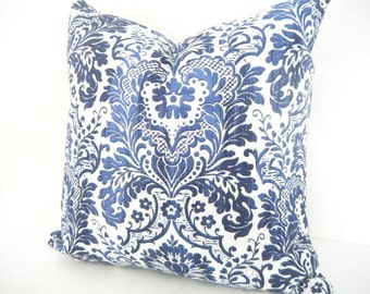 Bohemian Decor, Navy Blue and Light Blue Ikat Long Pillow, Blue and White Cushions 18x18 inches