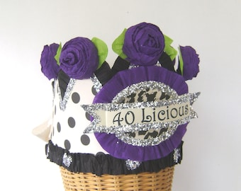40th Birthday Party Crown, 40th Birthday Party Hat, polka dot birthday hat, customized birthday hat