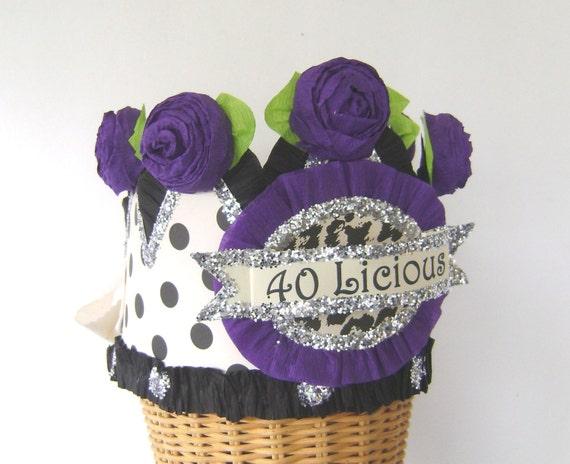40th Birthday Party Crown Hat Polka Dot