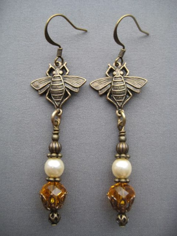 Bee Earrings Bee Jewelry Art Nouveau Earrings Art