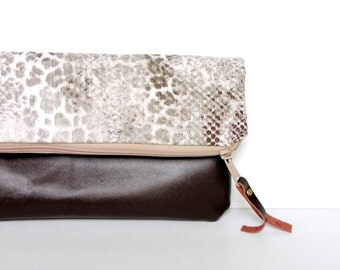 Leather fold over clutch, zippered purse bag wallet, brown grey animal print, handbag, folded clutch