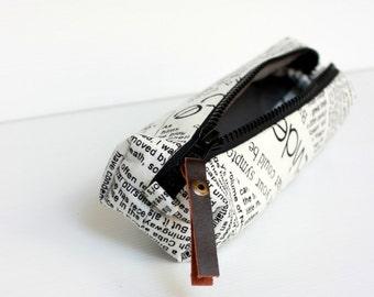 Men's Toiletry Bag, Brown White Newspaper Print Dopp Kit, Travel Shaving Kit Bag, Cosmetic Pouch, Pencil Case, Gift for Him