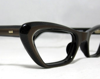 Vintage Cat Eye Glasses.  Angular Shape in Bronze and Black. New Old Stock.