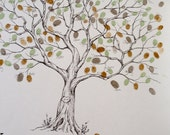 Fingerprint Tree Wedding Guest Book Alternative, Original Hand-drawn Extra Large Olive Tree Design (ink pads sold separately)