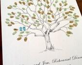 Fingerprint Tree Wedding Guest Book Alternative, Original Hand-drawn Small Great Oak Design (ink pads sold separately)