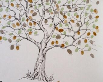 Wedding Guest Book Alternative, Fingerprint tree, Extra Large Olive Tree, Original Wedding Guest Book, thumbprint tree, Rustic Wedding