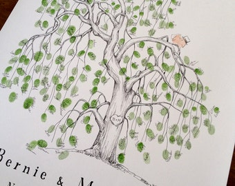 Wedding Guest Book Alternative, Fingerprint Tree Wedding Guest Book Alternative, Large Willow tree personalized keepsake
