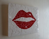 Mosaic Red Lip, Wall Hanging, Home Decor, Bedroom, Modern Decor, Powder Room, Unique