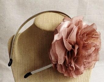 Skinny Grey Headband with Mauve Ruffled Flower