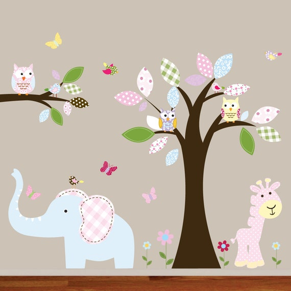Wall Decal Nursery. Wall Decals. Tree Decal. Jungle Tree Decal. Monkey Decal