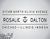Custom Return Address Stamp - Anchor Nautical personalized address stamp Tie the knot (G4024)