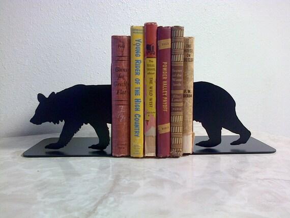 Bear Silhouette Metal Art Bookends