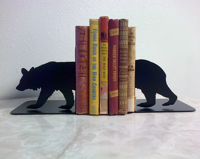 Bear Silhouette Metal Art Bookends