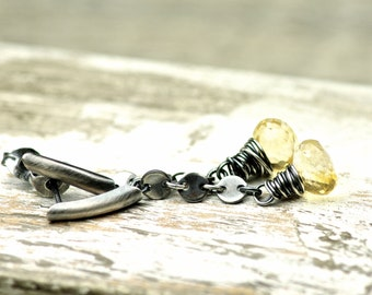 Pale Yellow Citrine Gemstone Post Earrings on Oxidized Sterling Silver November Birthstone