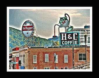 VA Signs Dr Pepper and H & C Coffee - Roanoke VA   - Fine Art Photography print by Dave Lynch - Free Shipping on any additional purchase