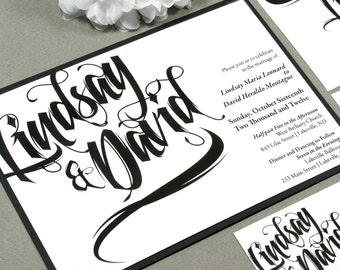 Black and White Wedding Invitations, Paintbrush Wedding Pocket Invite Set, Modern Wedding Invitation Suite, Calligraphy Wedding Invites