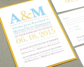 Initial Pocket Wedding Invitations - Modern Wedding Invitation with RSVP Postcard - Typography Wedding Invites - Blue and Yellow Wedding