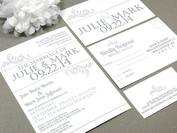 Vintage Simple Swirl Wedding Invitation Set by RunkPock Designs : Modern Typography Invitation Suite shown in classic Gray and White