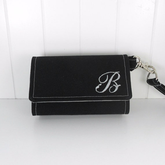 Cell Phone Wallet, Wristlet for iPhone/Galaxy - The Errand Runner - PERSONALIZED - Black/Grey