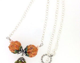 Persimmon Bouquet Artisan Lampwork Peony Necklace        (12-0081)