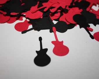 200 pieces Guitar Die Cut Confetti Table Decor - black and red