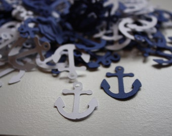 200 pieces Anchor Die Cut Confetti Table Decor  - white and navy