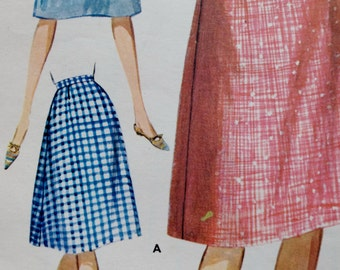Vintage 60s Skirt, 60s Sewing Pattern, Butterick 2235, 1960s Skirt, A Line Skirt Pattern, 60s Flared Skirt,Preppy Office Wear,Small Waist 25