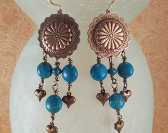 Rodeo Cowgirl Earrings - Aqua Howlite Turquoise Concho Dangles with Copper Earwires