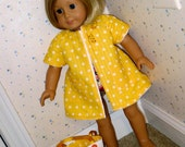 18 Inch Doll Nylon Swimsuit, Bright Yellow Polka Dot Coverup and White and Yellow Embroidered Beach Bag by SEWSWEETDAISY